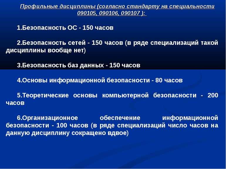 Профильные дисциплины (согласно стандарту на специальности 090105, 090106, 09...