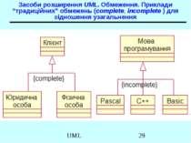 """Засоби розширення UML. Обмеження. Приклади """"традиційних"""" обмежень (complete, ..."""