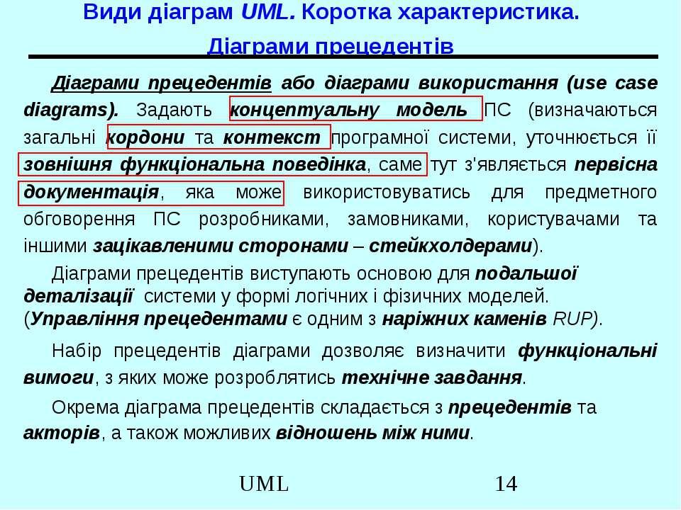 Види діаграм UML. Коротка характеристика. Діаграми прецедентів Діаграми преце...