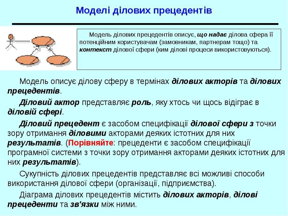 Моделі ділових прецедентів Модель описує ділову сферу в термінах ділових акто...