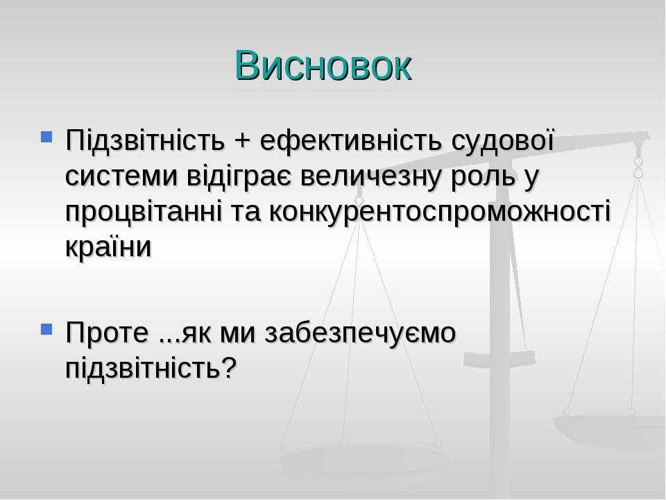 Висновок Підзвітність + ефективність судової системи відіграє величезну роль ...