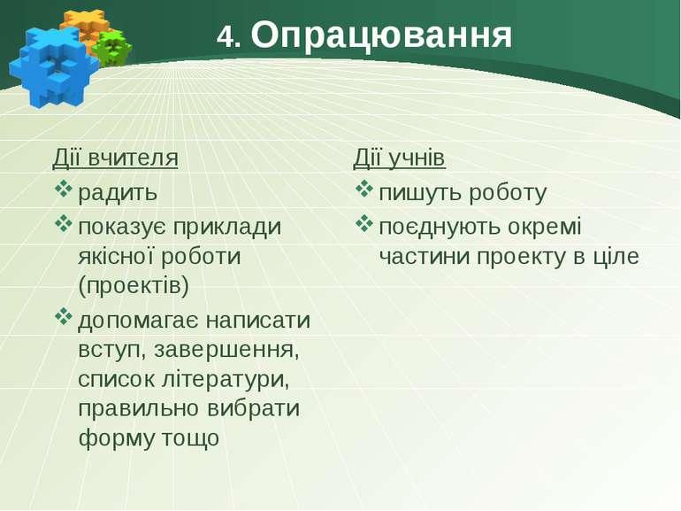 4. Опрацювання Дії вчителя радить показує приклади якісної роботи (проектів) ...