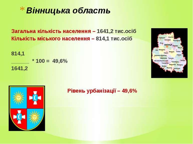 Вінницька область Загальна кількість населення – 1641,2 тис.осіб Кількість мі...