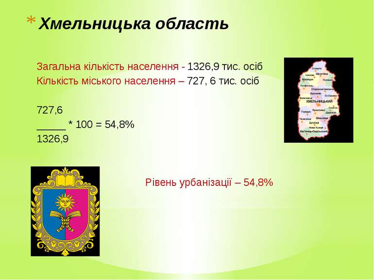 Хмельницька область Загальна кількість населення - 1326,9 тис. осіб Кількість...