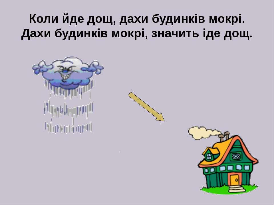 Коли йде дощ, дахи будинків мокрі. Дахи будинків мокрі, значить іде дощ.