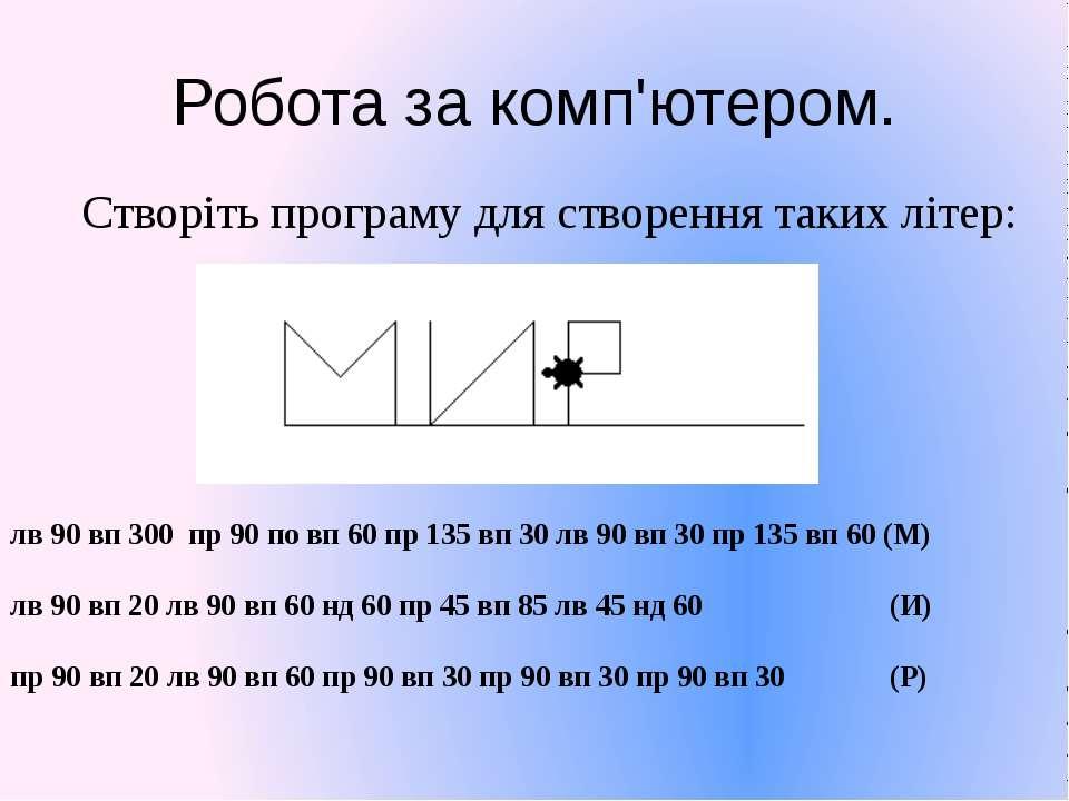 Робота за комп'ютером. Створіть програму для створення таких літер: лв 90 вп ...