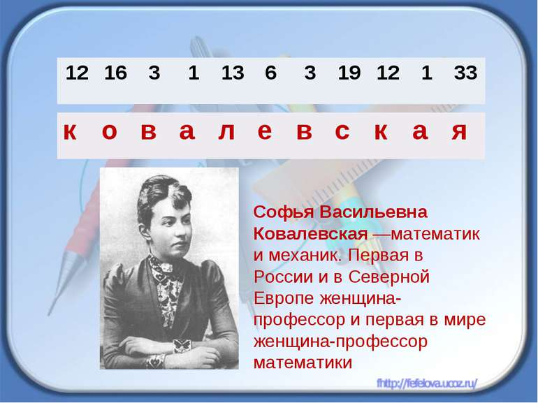 Софья Васильевна Ковалевская —математик и механик. Первая в России и в Северн...