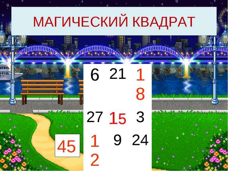 МАГИЧЕСКИЙ КВАДРАТ 45 6 21 18 27 15 3 12 9 24