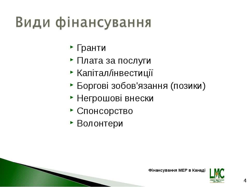 Гранти Плата за послуги Капітал/інвестиції Боргові зобов'язання (позики) Негр...
