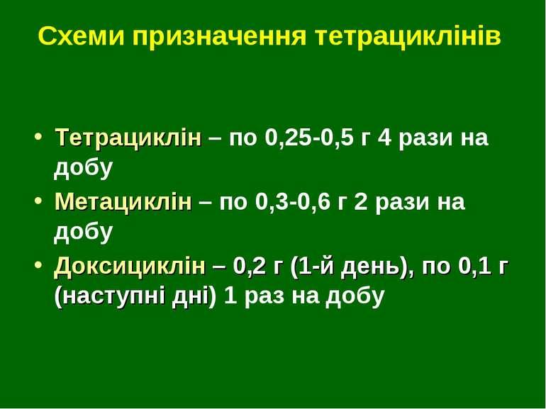 Схеми призначення тетрациклінів Тетрациклін – по 0,25-0,5 г 4 рази на добу Ме...