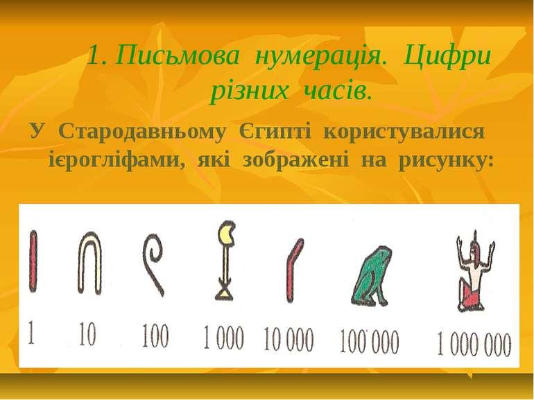 1. Письмова нумерація. Цифри різних часів. У Стародавньому Єгипті користували...