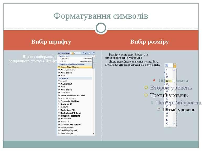 Вибір шрифту Вибір розміру Форматування символів Шрифт вибирають із розкривно...