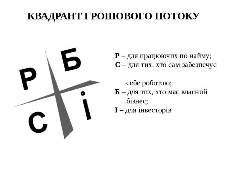 КВАДРАНТ ГРОШОВОГО ПОТОКУ Р – для працюючих по найму; С – для тих, хто сам за...