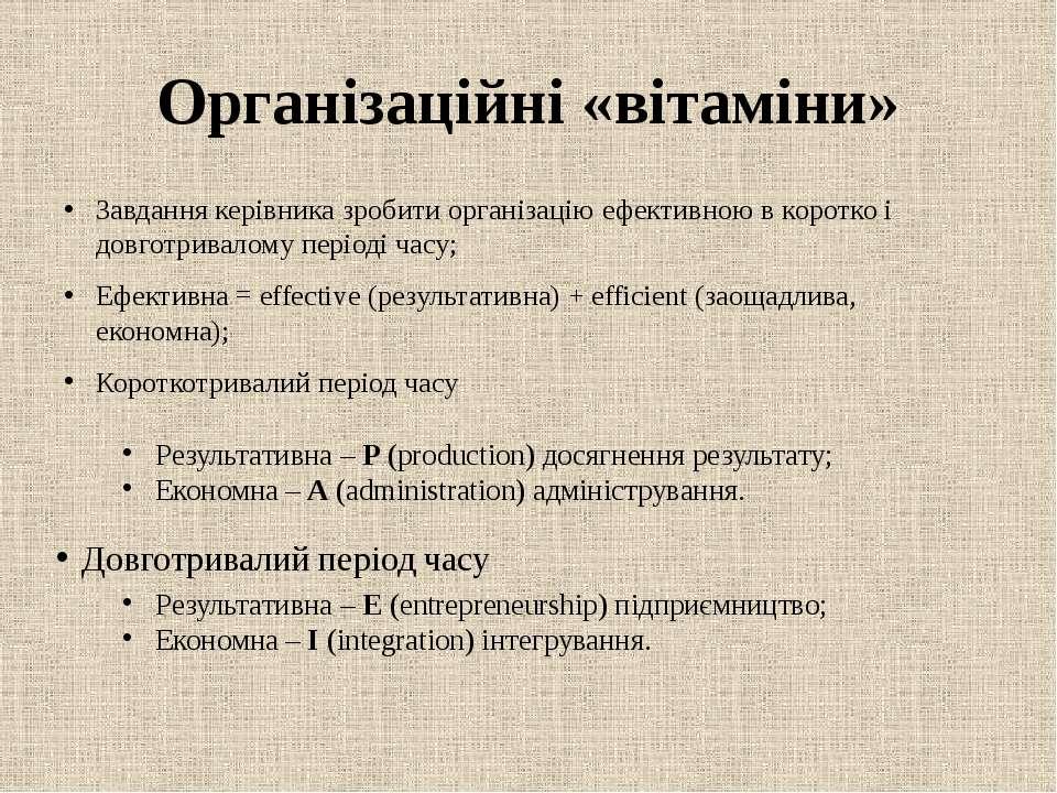 Організаційні «вітаміни» Завдання керівника зробити організацію ефективною в ...