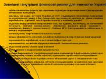 Зовнішні і внутрішні фінансові ризики для економіки Україні світова економічн...