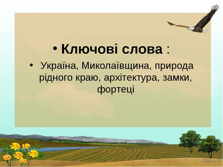 Ключові слова : Україна, Миколаївщина, природа рідного краю, архітектура, зам...