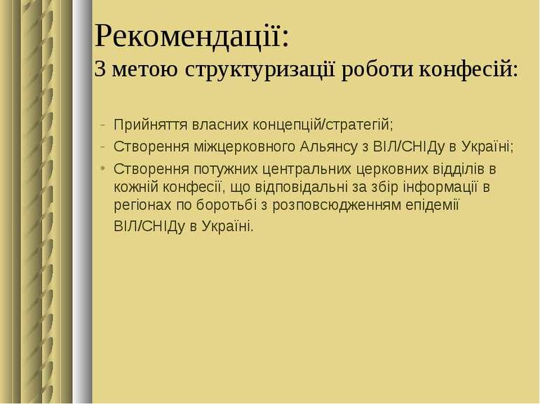 Рекомендації: З метою структуризації роботи конфесій: Прийняття власних конце...