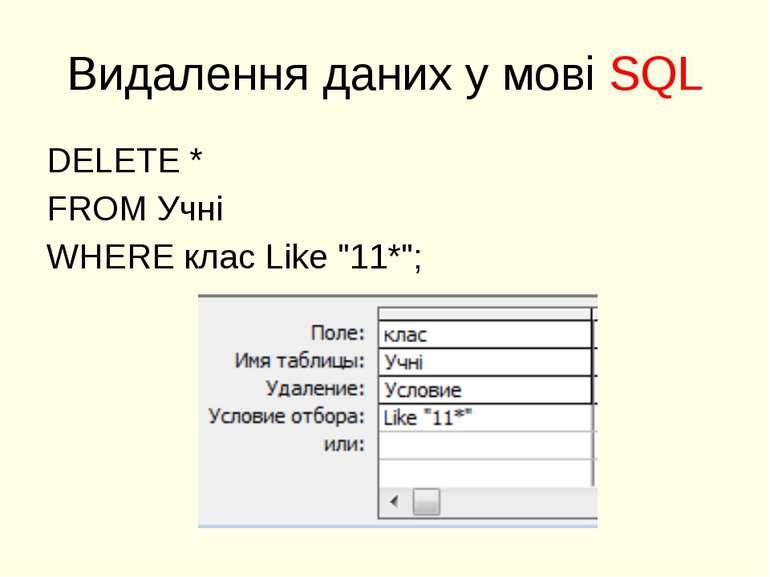 """Видалення даних у мові SQL DELETE * FROM Учні WHERE клас Like """"11*"""";"""