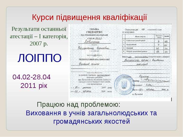 Курси підвищення кваліфікації ЛОІППО 04.02-28.04 2011 рік Результати останньо...