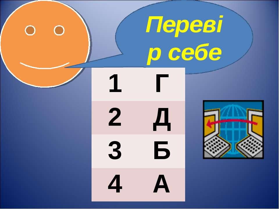 Перевір себе 1 Г 2 Д 3 Б 4 А