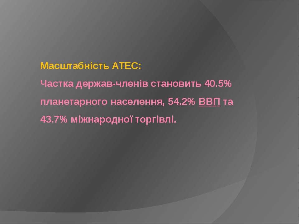 Масштабність АТЕС: Частка держав-членів становить 40.5% планетарного населенн...