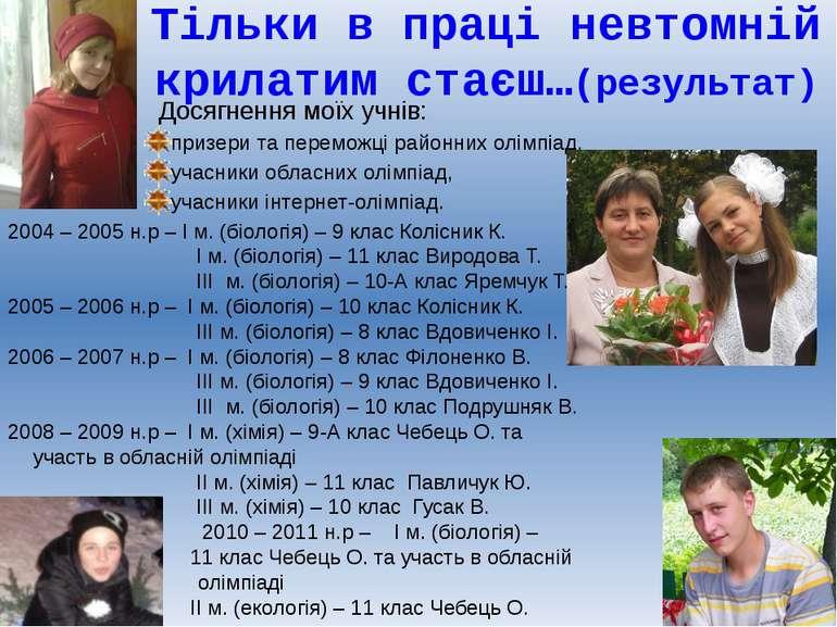 Досягнення моїх учнів: призери та переможці районних олімпіад, учасники облас...