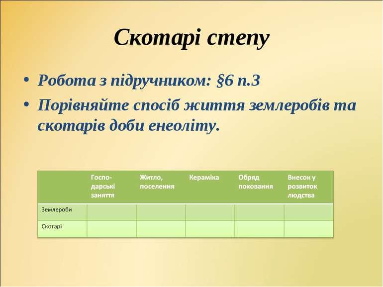 Робота з підручником: §6 п.3Робота з підручником: §6 п.3Порівняйте спосіб жит...