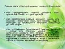 Основні етапи організації людської діяльності (технологія) етап природоподібн...
