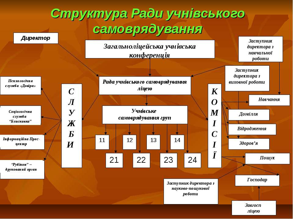 """Структура Ради учнівського самоврядування Соціологічна служба """"Блискавка"""" Інф..."""