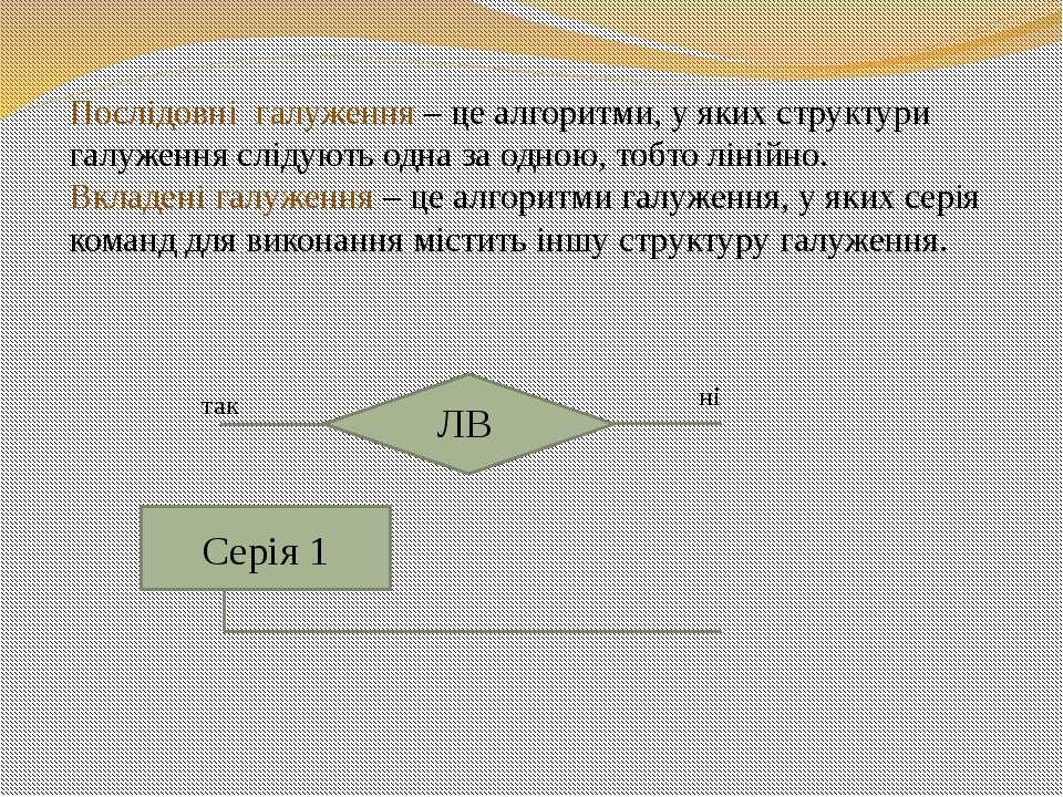 Серія 1 Послідовні галуження – це алгоритми, у яких структури галуження сліду...
