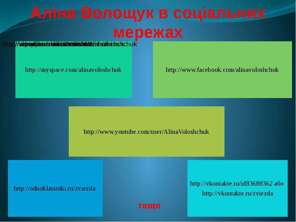 Аліна Волощук в соціальних мережах тощо