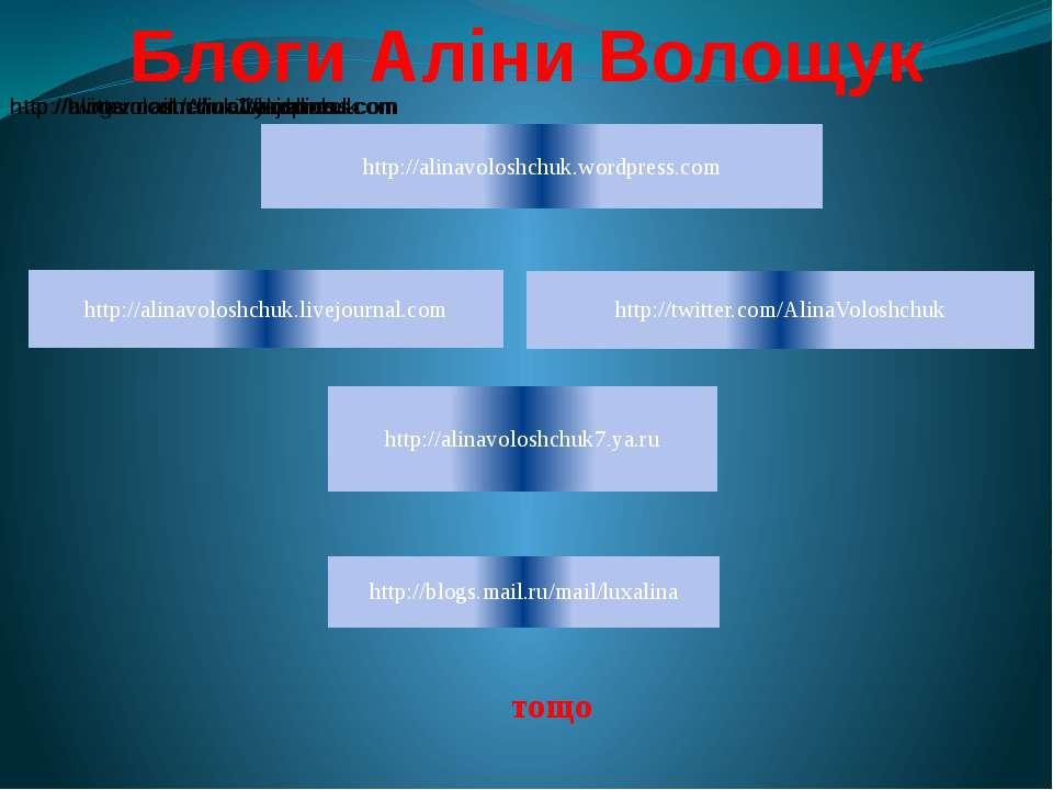 Блоги Аліни Волощук тощо