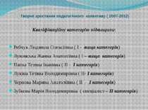 Творче зростання педагогічного колективу ( 2007-2012) Кваліфікаційну категорі...