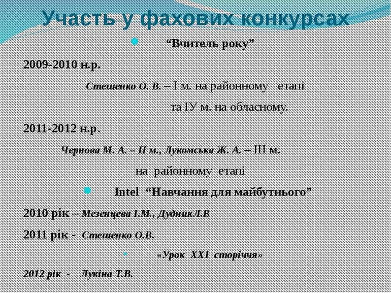 """Участь у фахових конкурсах """"Вчитель року"""" 2009-2010 н.р. Стешенко О. В. – І м..."""