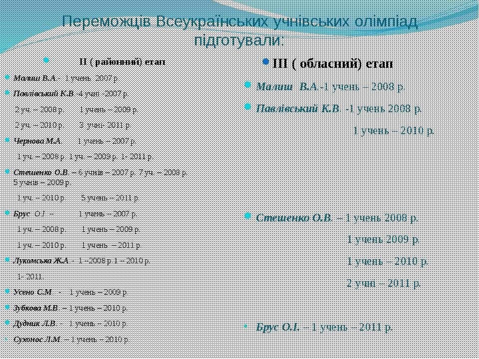 Переможців Всеукраїнських учнівських олімпіад підготували: ІІ ( районний) ета...