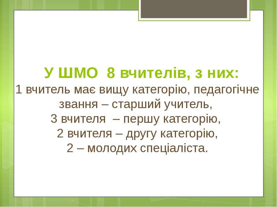 У ШМО 8 вчителів, з них: 1 вчитель має вищу категорію, педагогічне звання – с...