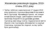 Жасмінова революція грудень 2010-січень 2011 року Тріґер: публічне самоспален...