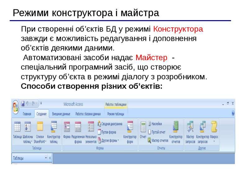 При створенні об'єктів БД у режимі Конструктора завжди є можливість редагуван...