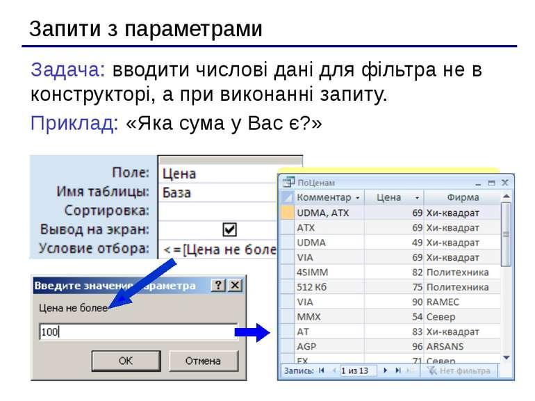 Запити з параметрами Задача: вводити числові дані для фільтра не в конструкто...