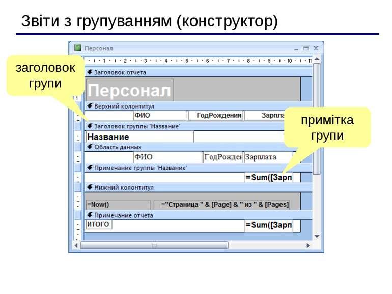 Звіти з групуванням (конструктор) заголовок групи примітка групи