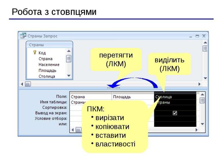 Робота з стовпцями виділить (ЛКМ) ПКМ: вирізати копіювати вставити властивост...