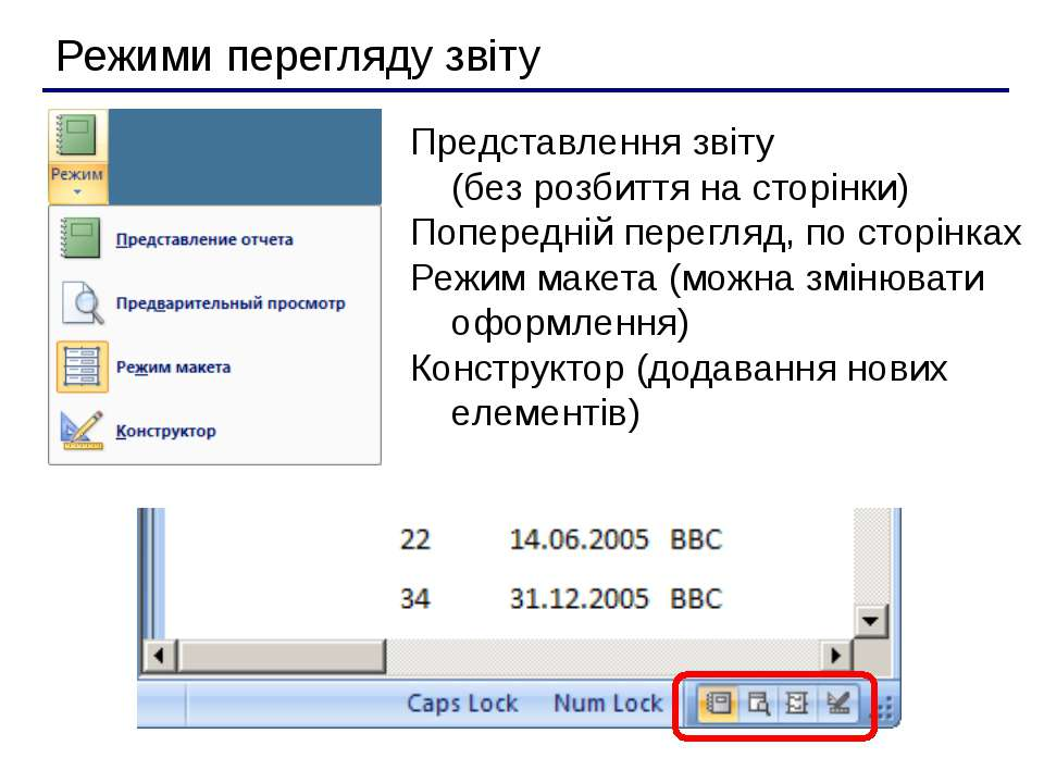 Режими перегляду звіту Представлення звіту (без розбиття на сторінки) Поперед...