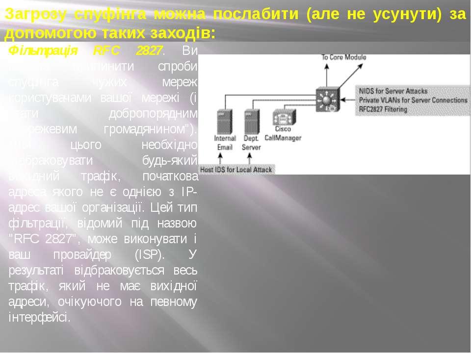 Фільтрація RFC 2827. Ви можете припинити спроби спуфінга чужих мереж користув...