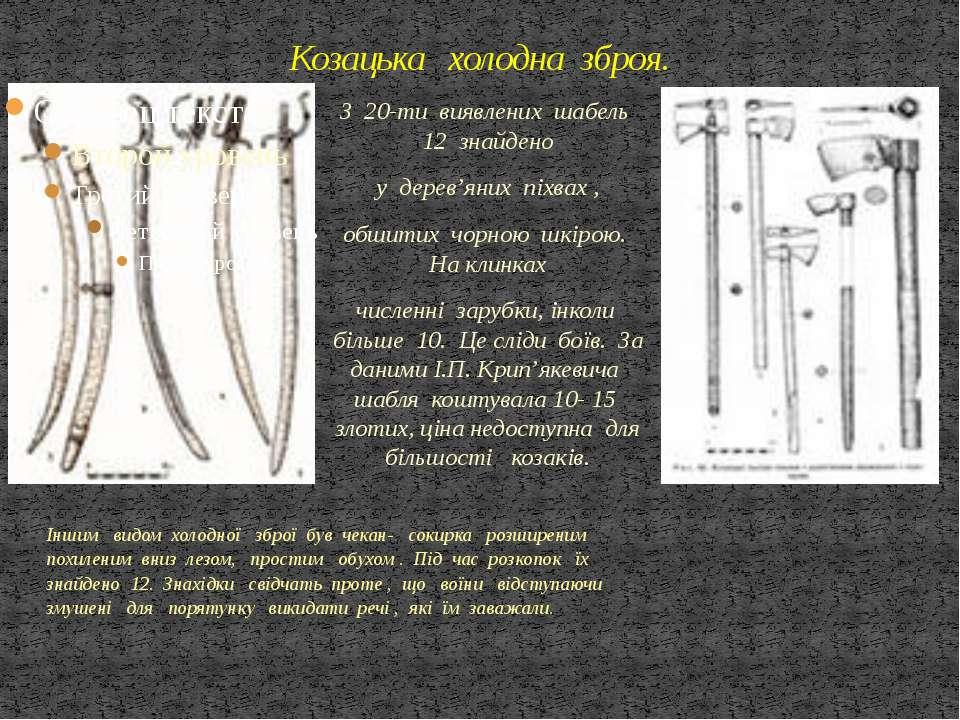 Козацька холодна зброя. З 20-ти виявлених шабель 12 знайдено у дерев'яних піх...