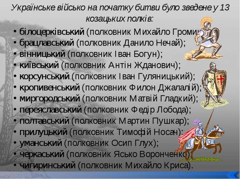 білоцерківський (полковник Михайло Громика); брацлавський (полковник Данило Н...