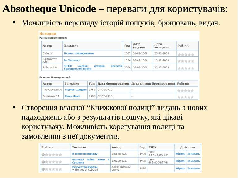 Absotheque Unicode – переваги для користувачів: Можливість перегляду історій ...