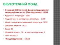 БІБЛІОТЕЧНИЙ ФОНД Основний бібліотечний фонд на традиційних і нетрадиційних н...