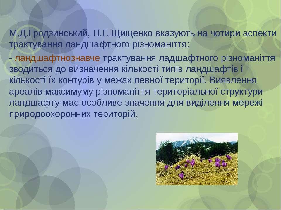 М.Д.Гродзинський, П.Г. Щищенко вказують на чотири аспекти трактування ландшаф...