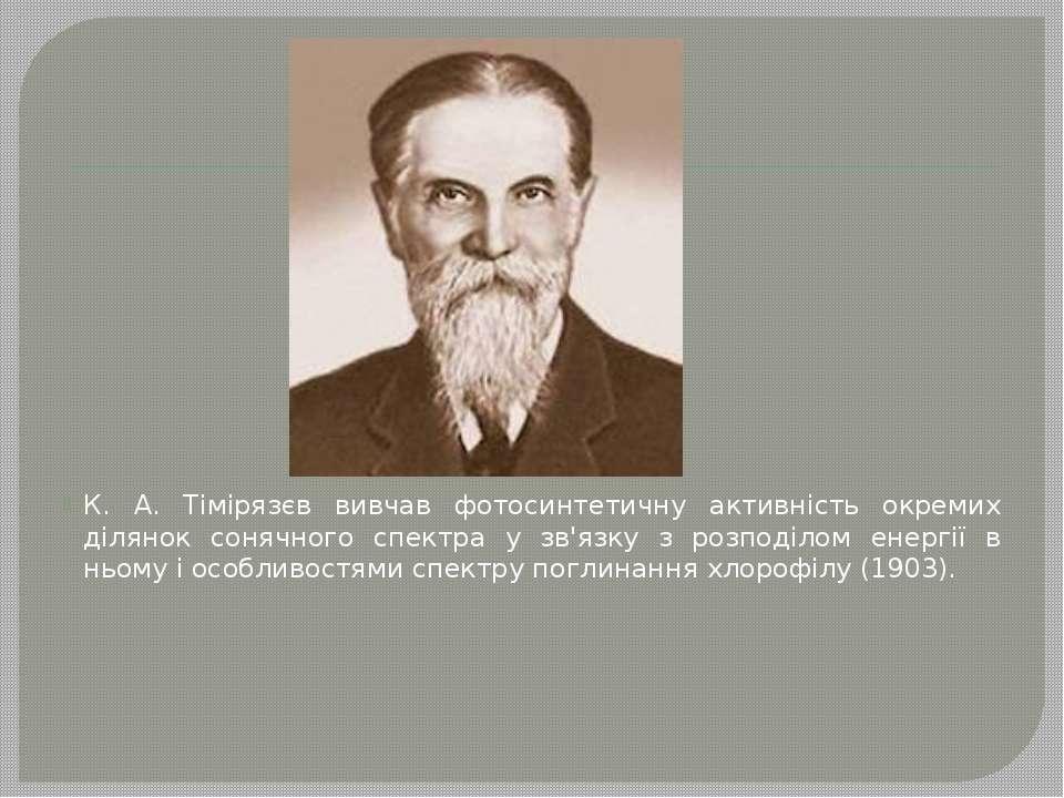 К. А. Тімірязєв вивчав фотосинтетичну активність окремих ділянок сонячного сп...