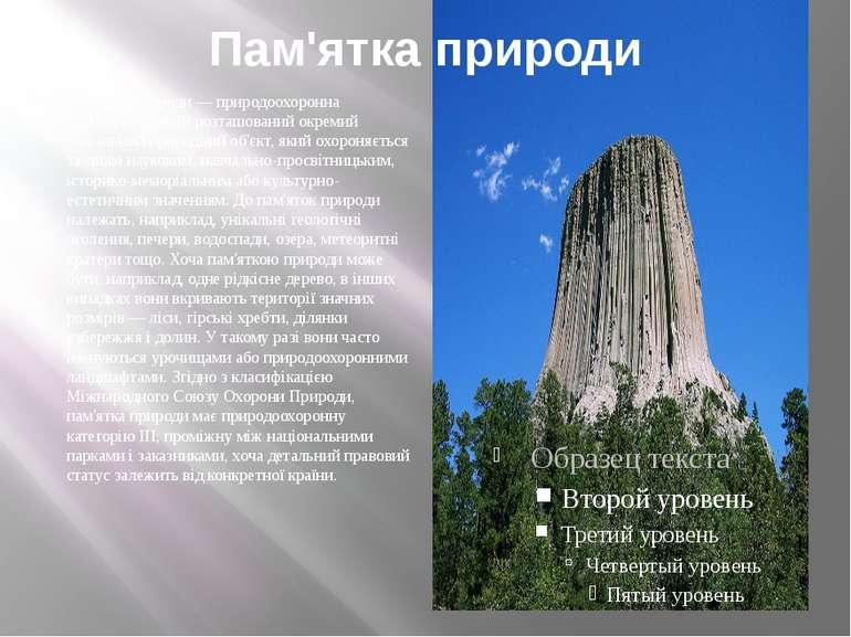 Пам'ятка природи Пам'ятка природи — природоохоронна територія, на якій розташ...